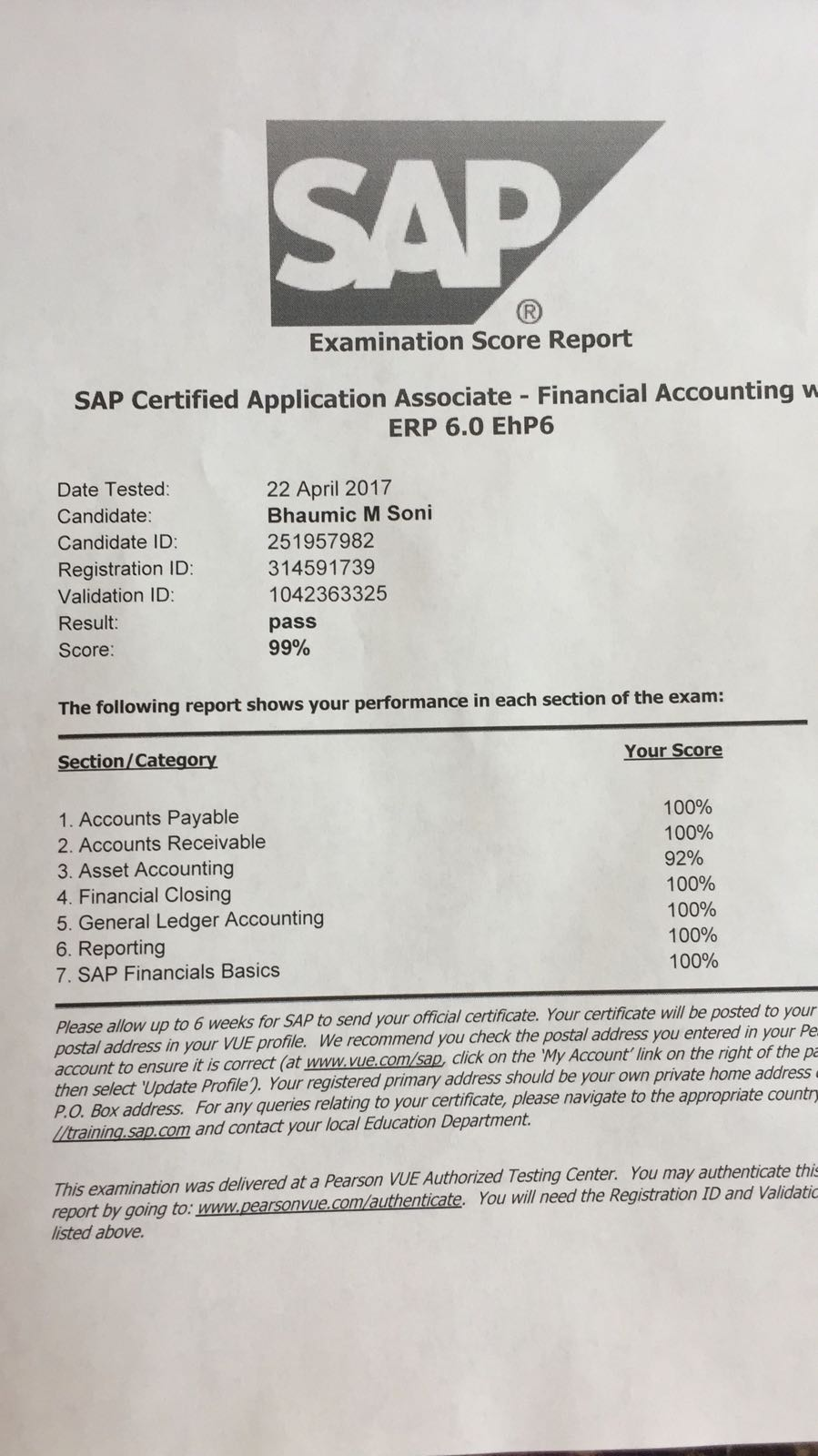 Testimonials the smart hands sap fi certification passed with 99 score congratulations bhaumic soni xflitez Images