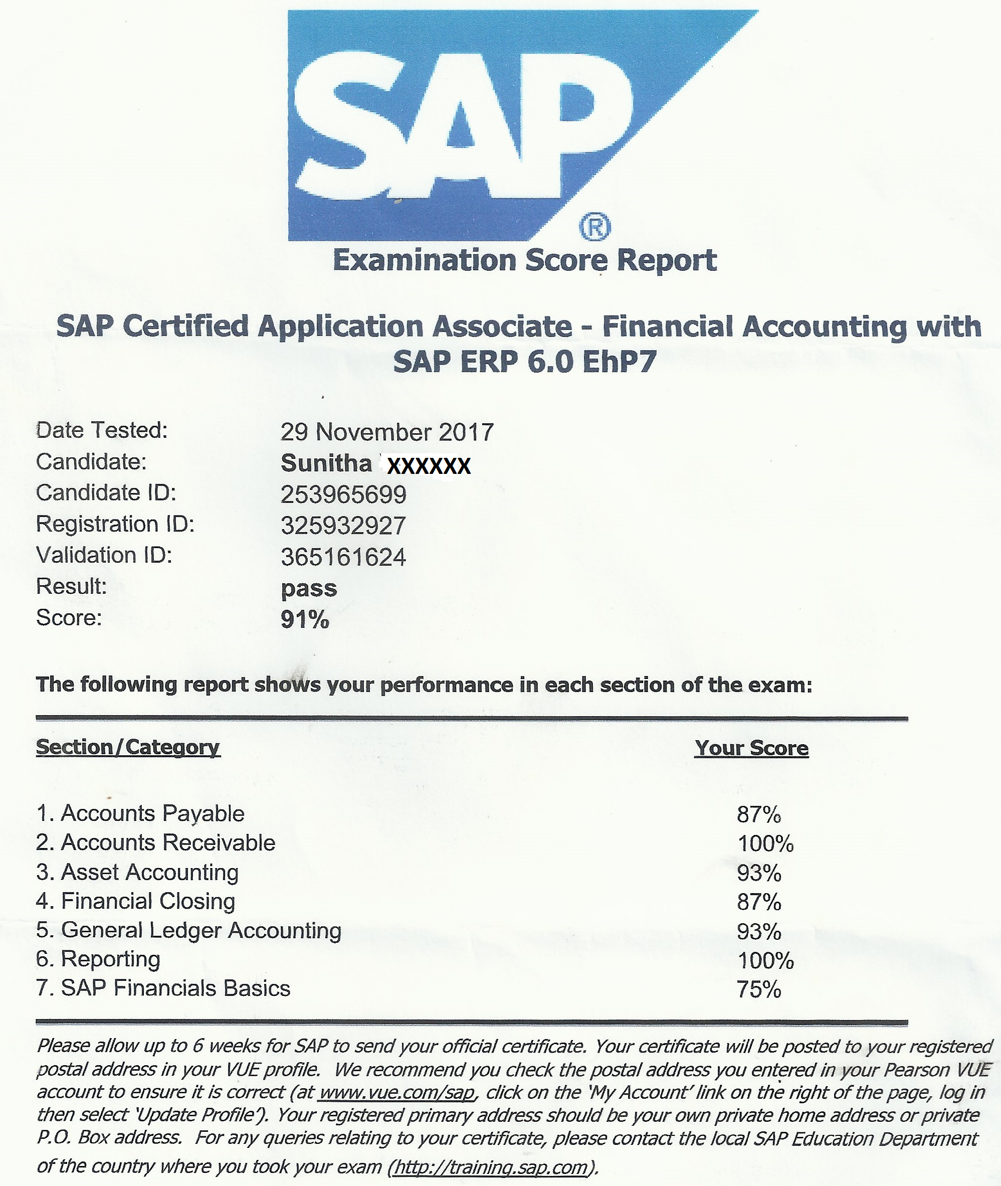Testimonials the smart hands sap fi certification passed with 91 score congratulations sunitha score card xflitez Images